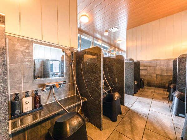 【大浴場・洗い場スペース】※シャンプーはDHCを使用。