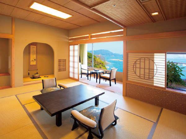 陶器露天と桧内風呂付 新館 季和海(ときなごみ)和室12畳+6畳 (一例)
