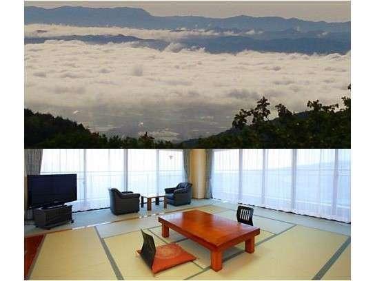 新館客室       運が良ければ雲海を目前に見渡すことができます