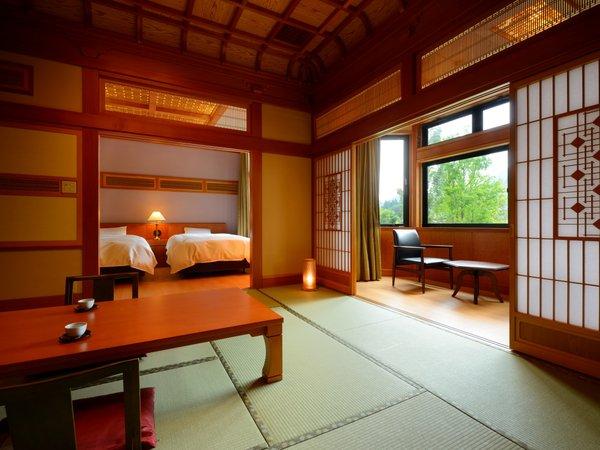 3間特別室※和室10畳+6畳+ツインルーム。当館自慢のお部屋で、とっておきのひと時をお過ごしくださいませ