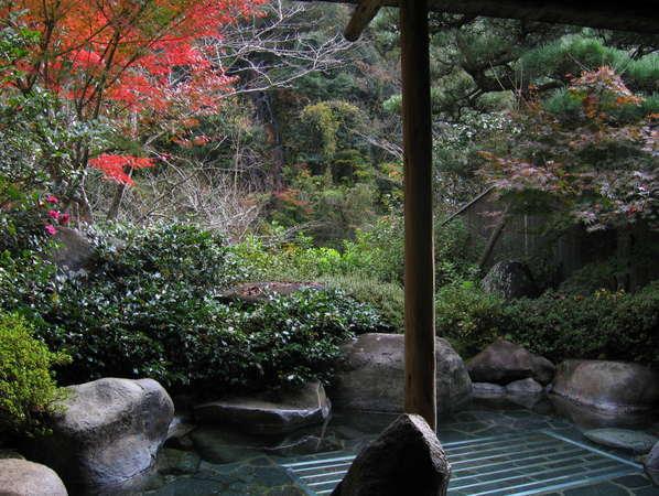【露天女湯】露天風呂周辺の木々が紅葉して風情を感じさせます。