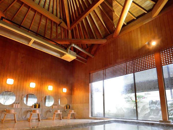 *【大浴場】まるで天に向かうように感じさせる木組み傘天井