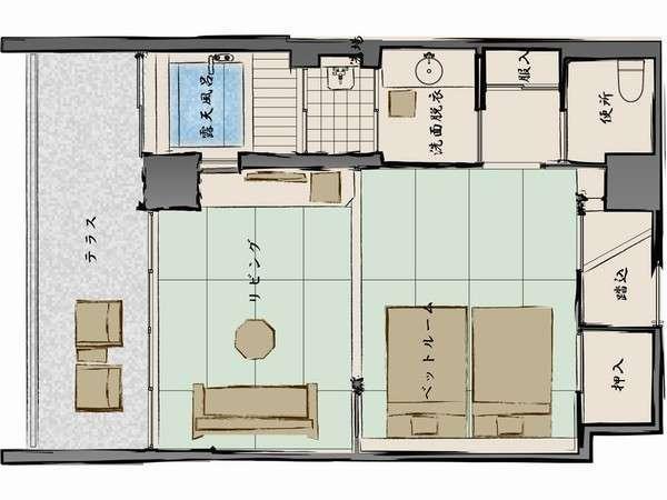 是空Cタイプ20畳+半露天風呂付最上階の5階部分確約テラスからの眺望◎