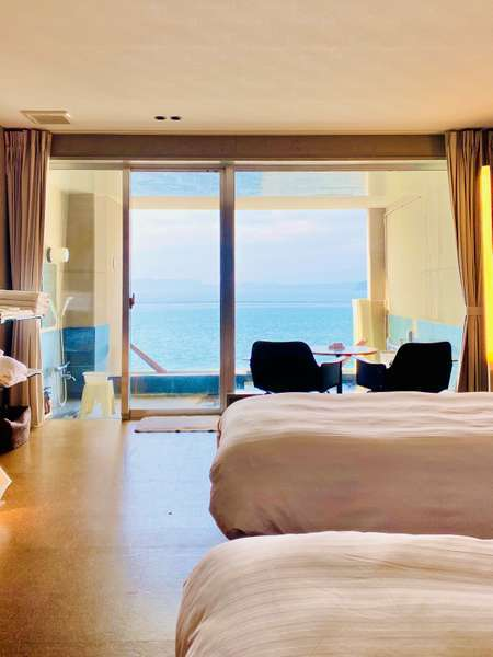 ツインルームモダンタイプ♪全室に広々プライベート露天風呂完備♪♪全室海側オーシャンビューです♪♪