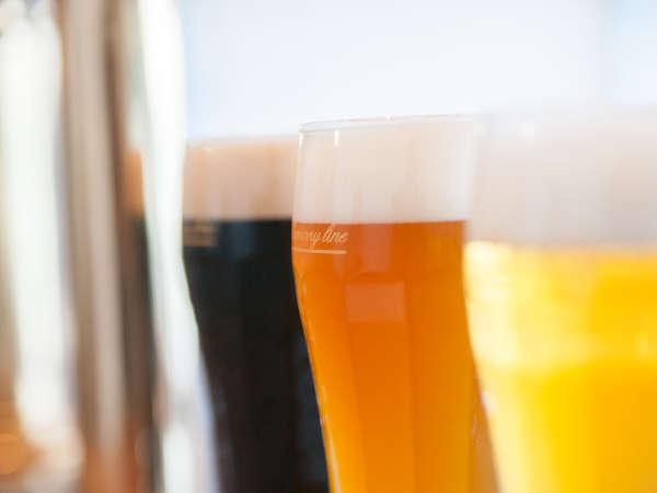 パムコ内ビールプラントで醸造した3種の地ビール。アルト・ケルシュ・梅ビールを用意しています