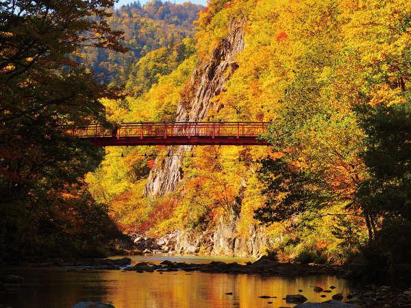 【二見吊橋】定山渓観光の定番スポット。紅葉時期は多くの観光客で賑わいます