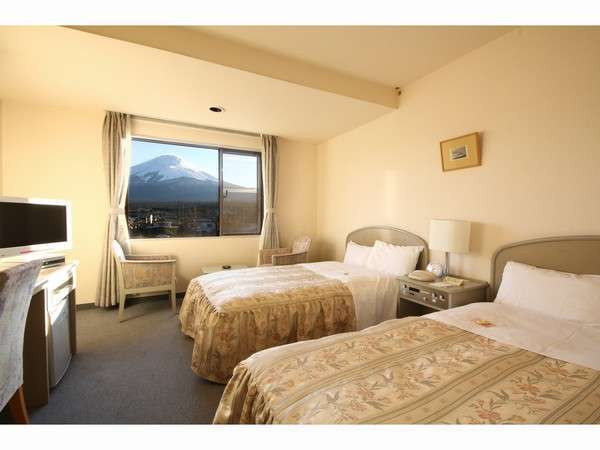 ツインのお部屋です。富士山側からは天気が良ければこんな景色も望めます☆(西館)