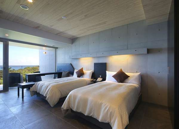 波音日和お部屋風景です。洋室ツイン。ベッドはシモンズベッドを採用しております。
