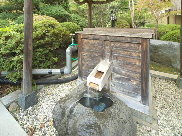 敷地内より沸く源泉、泉質はPH.10.3という日本有数のアルカリ性泉(単純硫黄冷鉱泉)。