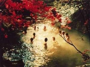紅葉の美しい北アルプスを眺めて浸かる秋の混浴大野天風呂