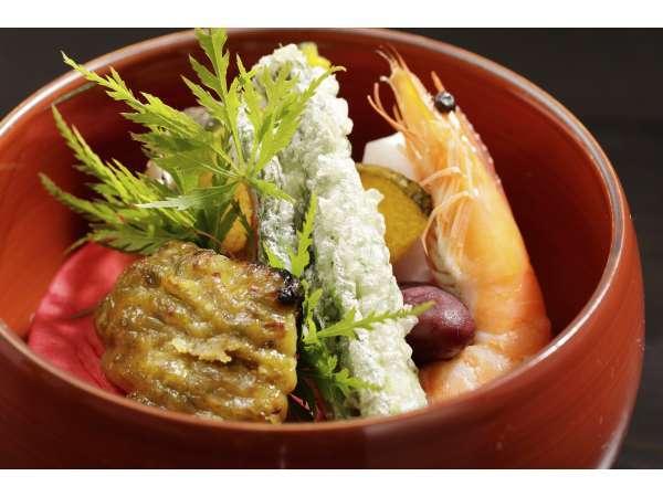 焼き物~銀鱈の蕗味噌焼き、エビの芝煮など