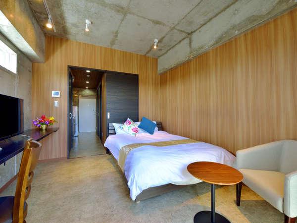 【客室】シュガーダブルルーム<禁煙>ベッド幅1400mm、キッチン&洗濯機、テラス付き