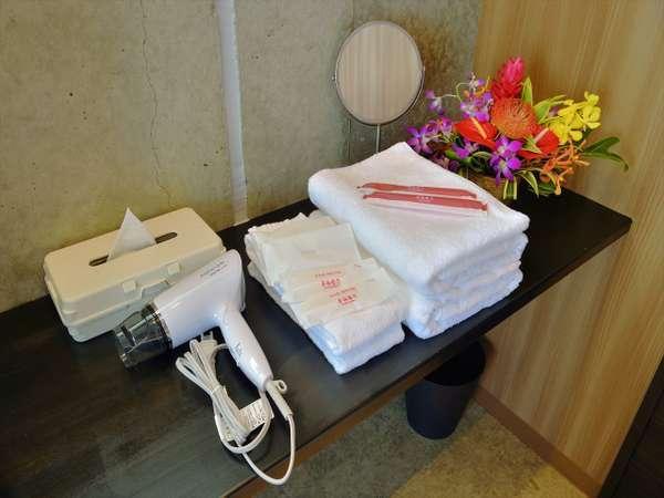 【客室】バス&フェイスタオル・歯ブラシ・レザー・ヘアブラシ・シャンプー・リンス・ボディソープあり