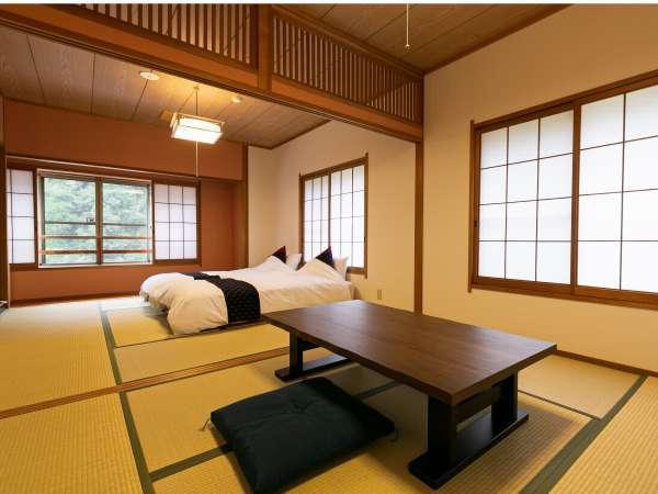 二間つづきの和洋室はベッドをご用意しています