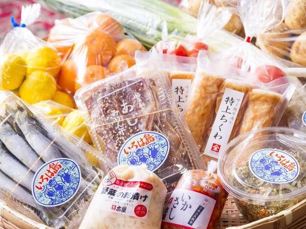 売店:地元の「美味しいもん」を取り揃えております。新鮮お野菜や海産物など、お土産にいかがですか?