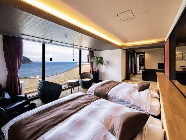 【特別室】露天風呂付きスイート84㎡ 最上階の景色を満喫