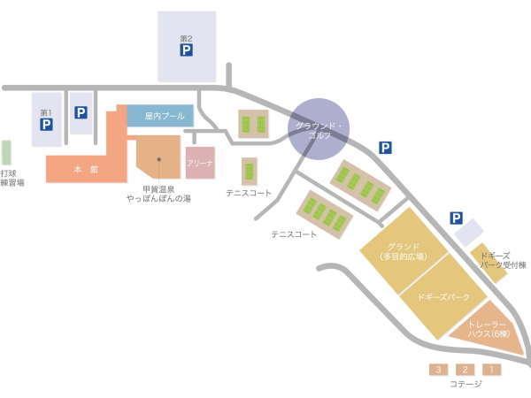 ホテル本館と周辺の案内図です。