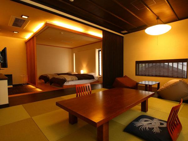 【特室ぼたん】和室と和ベッドがある落ち着いた雰囲気の客室です。