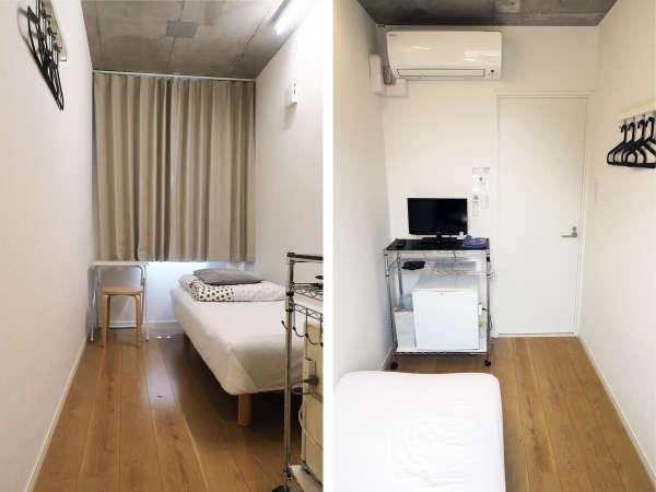 洋室シングルルーム。エアコン、テレビ、冷蔵庫を完備しています。