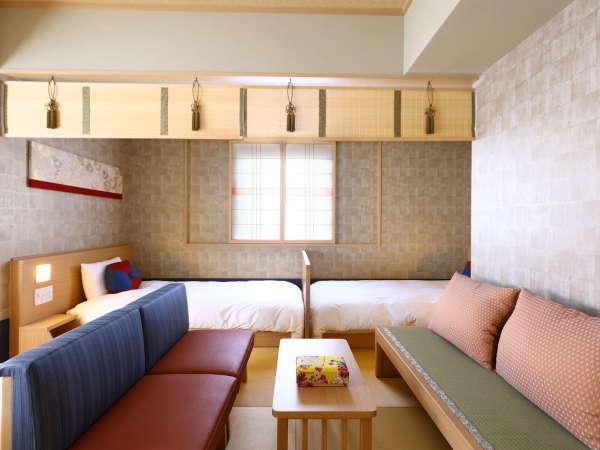 【禁煙】ファミリーフォース 約34平米 サータ社製ベッド(100×195センチ×4台)