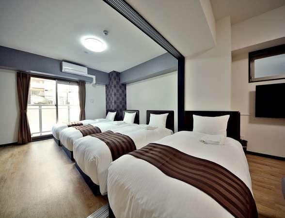 デラックスフォース:シングルベッド4台+ソファベッド 大人数でも1部屋で楽しめます♪ 定員5名