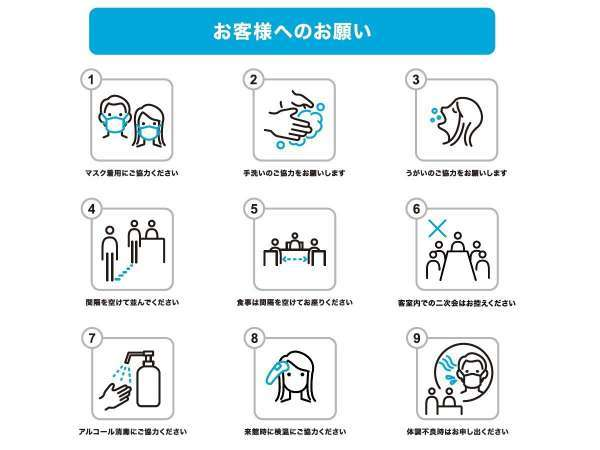 【コロナウイルス対策】当館へお越しいただけますお客様へのお願い一例