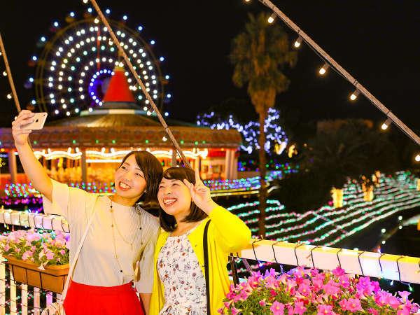 夜は中四国最大級250万球のイルミネーション「レオマ光ワールド」へ