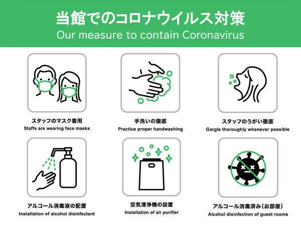 新型コロナ感染防止対策ため当館では対策を行っております。