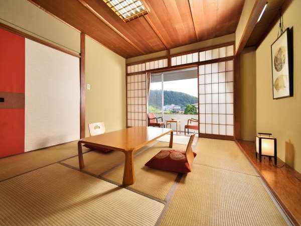 <和室10畳一例>開放的な眺めです。Wi-Fi無料接続・空冷蔵庫(バス・洗浄機能付きトイレ)