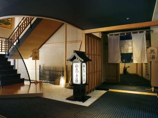 【2F大浴場】「飛鳥湯」はそのまま真っすぐ、「桂木乃湯」へは階段をお使い頂きます。