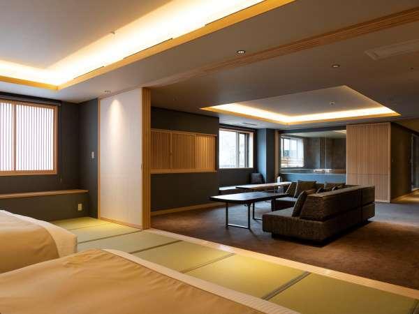 【街側の温泉&寝湯付客室「松風」(120平米)】さらなるくつろぎを目指して。
