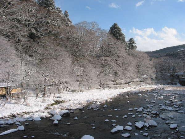 当館から見る冬の対岸の箒川