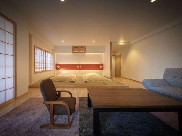 畳とフローリングの大広間とキッチンが併設されております。