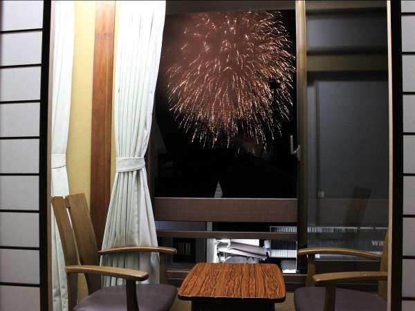 花火の見えるプランのお部屋の一例、お部屋により多少タイプが違います(花火の日程は要確認)