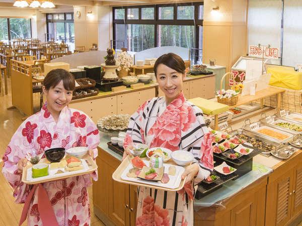 夕食バイキングは「秋田お楽しみバイキング」。約40種類のお料理が並びます。