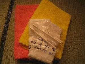 アメニティはバスタオル、ハンドタオル、歯磨きセット