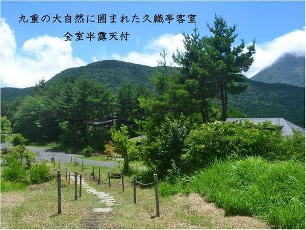 この大自然の中に久織亭の客室がございます。九重連山が一望できる唯一の旅館です。