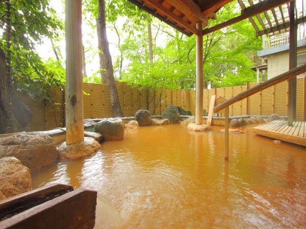 伊香保に古くから湧き出る「こがねの湯」(岩風呂内露天風呂)