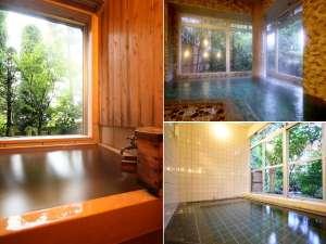 源泉掛け流し客室半露天風呂(左)と男女別大浴場(右)