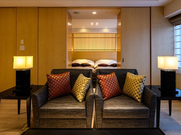 【橿原スイート】古き良き日本の心を感じる上質なプライベート空間62平米の特別客室です(ツインベッド)