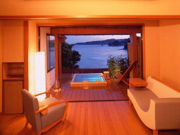 当館1番人気の角部屋 露天風呂付き客室コーナースイート(212)です。