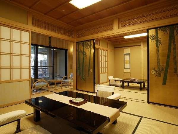 松竹梅を意匠に、淑気満つる八畳二間の部屋