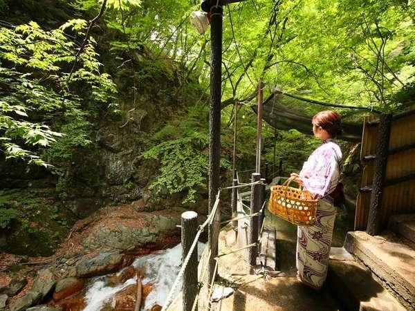 ■【仙人露天岩風呂】すぐ横を松川渓谷が流れております