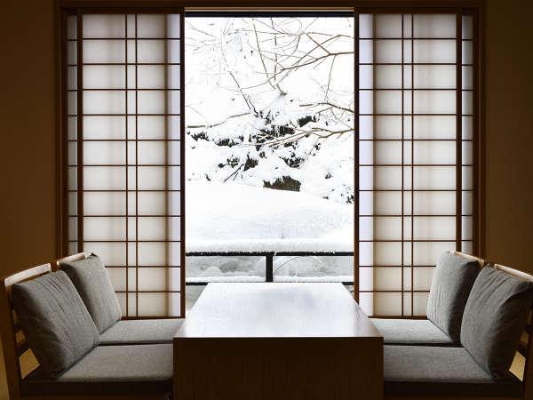 【憩】貸切風呂付の和洋室 和室からの眺め(冬)