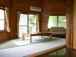 8角形タイプの室内はリビングの畳敷きが広々。ごろりとくつろげる。
