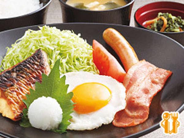 *【朝食一例】幕の内朝食。ご飯・味噌汁・漬物・ドリンクバー付です。