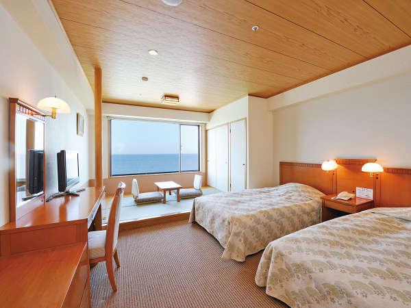 *【スタンダードルーム(一例)】最大4名様定員の和洋室は、全室海を眺める絶景オーシャンビュー!