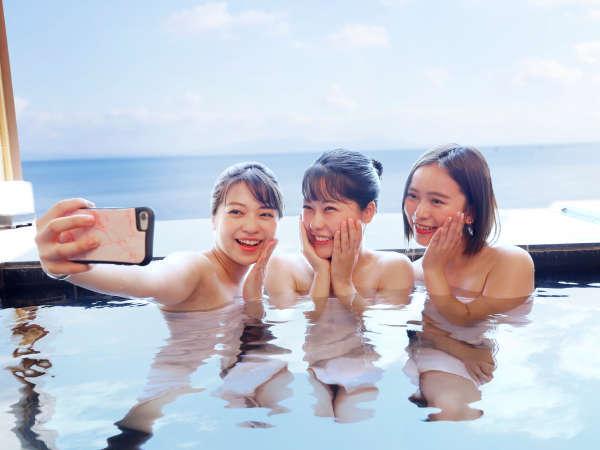 思わず写真撮りたくなるような絶景貸切露天風呂「海音」★(実際の携帯のお持ち込みはご遠慮ください)