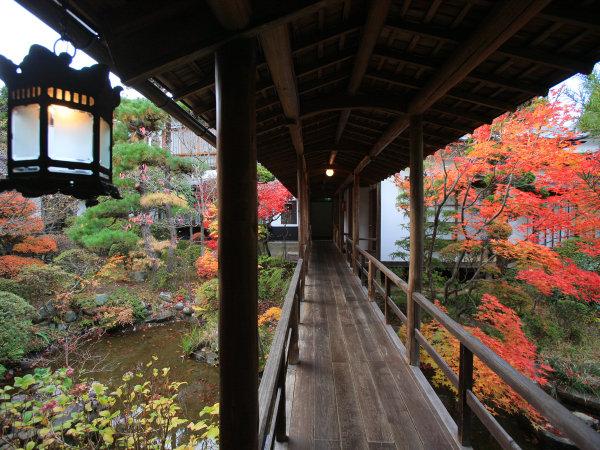 紅葉が美しい秋の渡り廊下