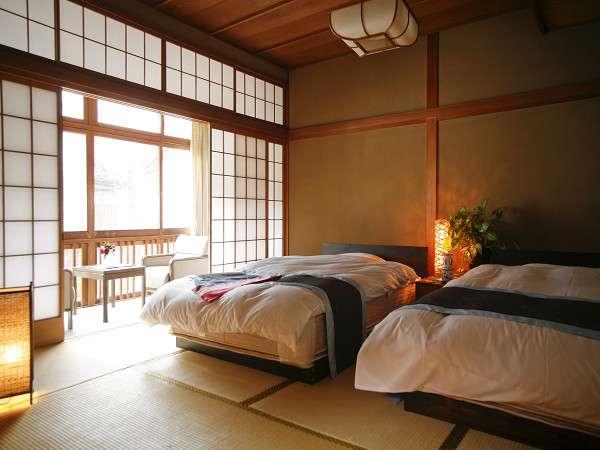 【湯亭 花のれん】お部屋の一例☆和室ベッドルームです。朝ものんびり朝寝ができます♪
